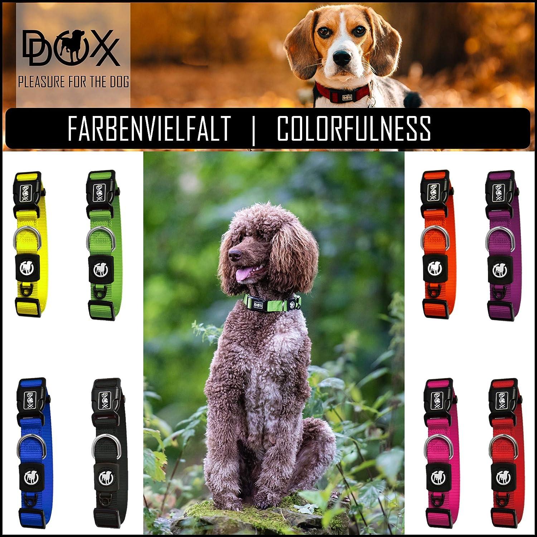 Amarillo Diferentes Colores /& Tama/ños Ajustable XS Collares Accesorios Gato Cachorro Mediano y Grande DDOXX Collar Perro Nylon para Perros Peque/ño