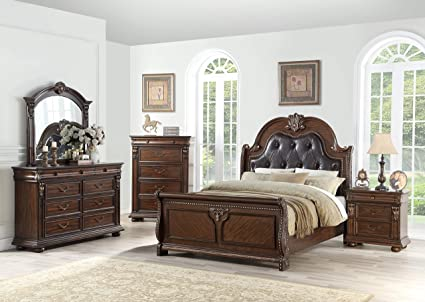 Esofastore Traditional Formal Antique Bedroom Furniture Cherry Veneer Dark  Brown Tufted Queen Size Bed Dresser Mirror - Amazon.com: Esofastore Traditional Formal Antique Bedroom Furniture