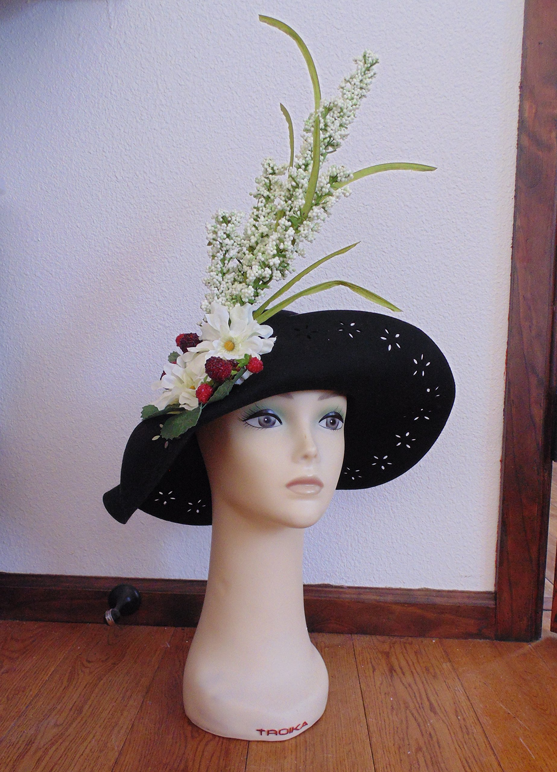 Shades of Black and red Derby hat with Flowers, cherries, and feathers!