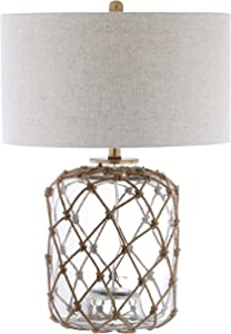 "JONATHAN Y JYL5033A Mer 26.5"" Glass and Rope LED Lamp Coastal,Traditional,Transitional for Bedroom, Living Room, Office, College Dorm, Coffee Table, Bookcase, Brown/Clear"