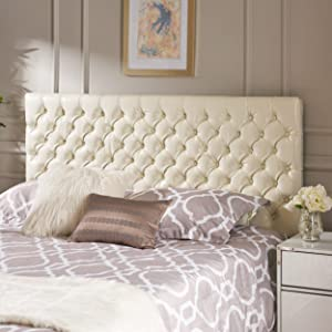 Christopher Knight Home Deal Furniture Wyoming Queen/Full Button Tufted Fabric Headboard - Ivory,