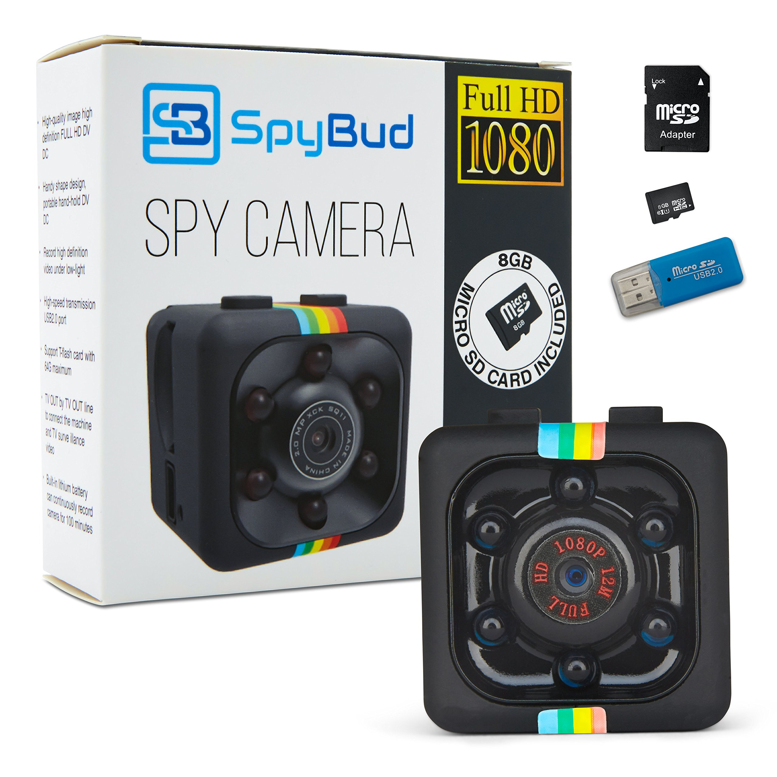 Spy Bud HD Hidden Mini Spy Camera SQ11 - Portable Motion Detection - Night Vision - For Drone, Car, Home & Office - With 8GB SD Card, memory Card Adapter & Card Reader by Spy Bud