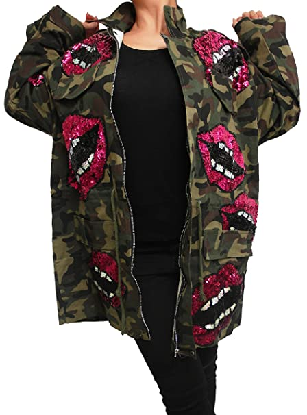 purchase cheap 252ac 2f79c Damen Patches Camouflage Denim Jacke Long Jacket Parka m Bomberjacke h  Jeansjacke Patches übergangsjacke Lederjacke Blazer Freizeitjacke Frauen  Basic ...