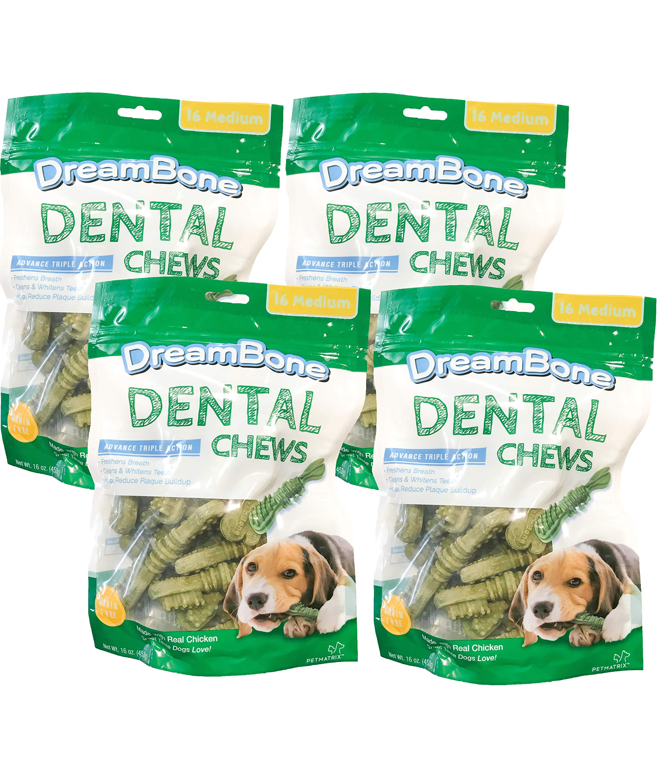 DreamBone Dental Dog Chew, Rawhide Free, Reduce Tartar & Whiten Teeth (Medium, 16 Pieces/Pack, 4 Pack)