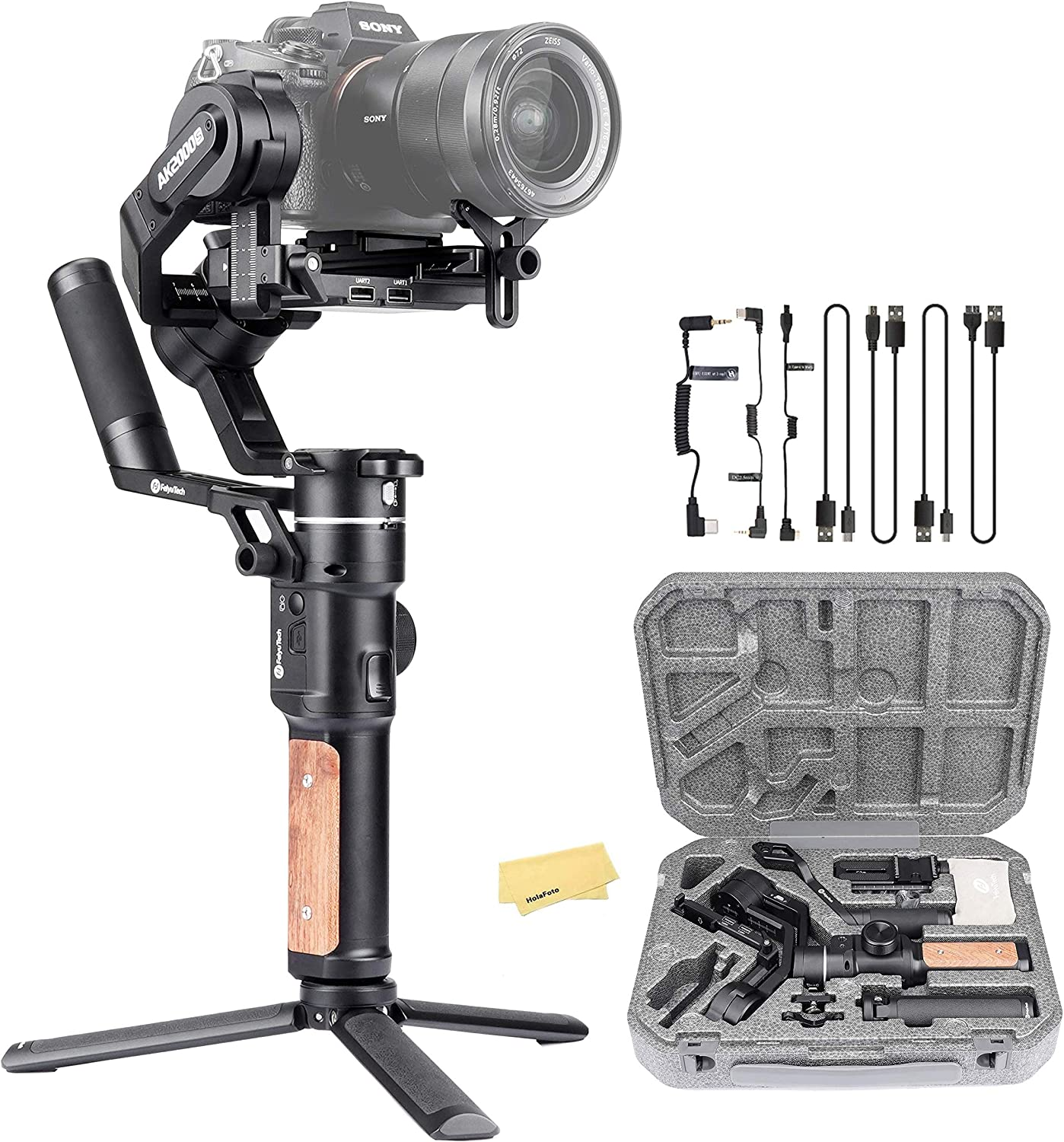 Feiyu AK2000 S Ak2000S 3 Axis Handheld Gimbal Stabilizer for Sony a9 a7 ii a6500 Series Canon 5D Panasonic GH5 GH4 Nikon D850 Mirrorless and DSLR Digital Camera, Smart Touch Panel