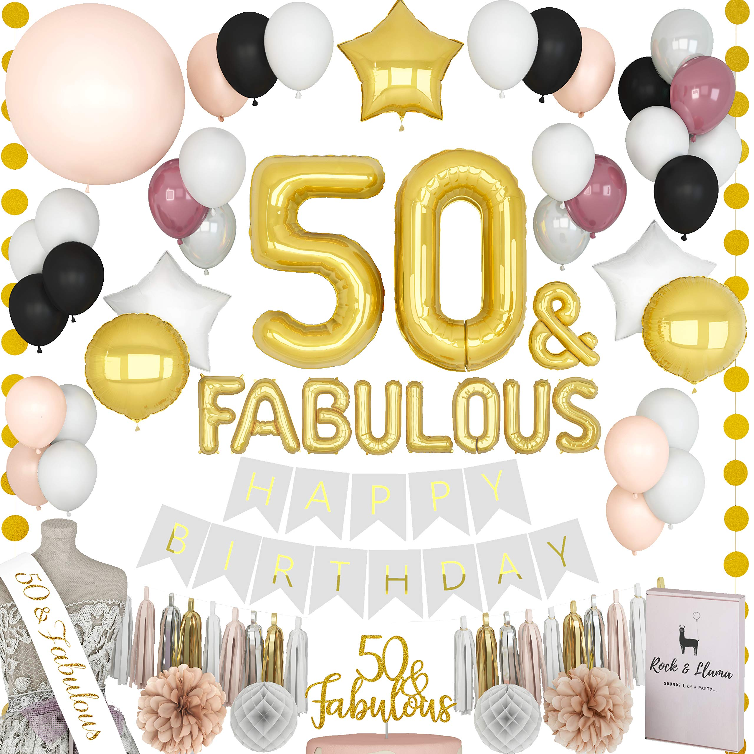 FABULOUS 50th Birthday Decorations + (50 SASH) + (FABULOUS Letter Balloons) + (Cake Topper) | Gold Black Burgundy Sixty Bday Party Supplies for Women | (71+ Items)
