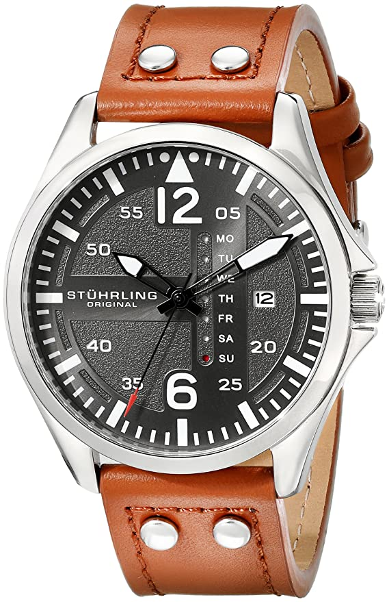 Stuhrling Original Brown Leather Band Watch