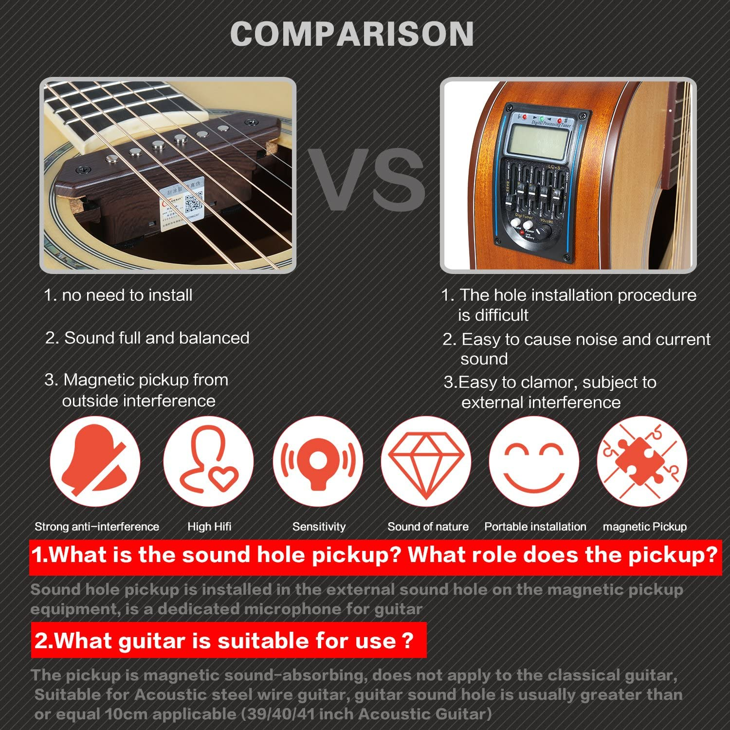 A810 TYLANHUA Acoustic Folk Guitar Pickups,10-Feet Straight to Right Angle FREE Guitar Cable,Passive Magnetic Soundhole Pickup Transducer Microphone Wire Amplifier Speaker-Humbucker