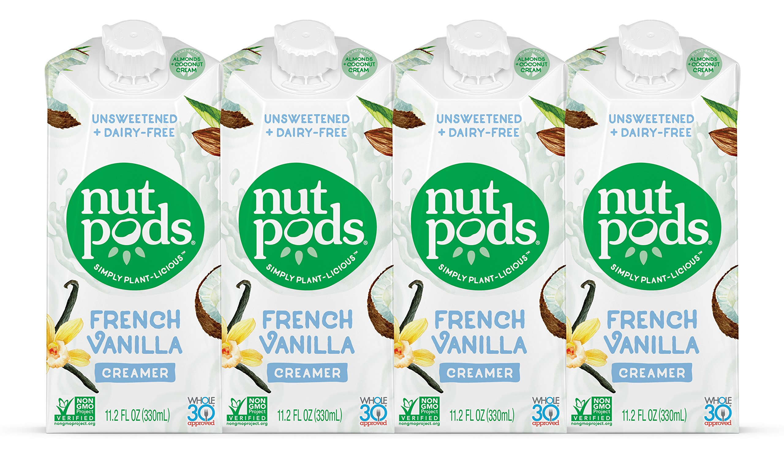 nutpods Dairy-Free Creamer Unsweetened (French Vanilla, 4-pack) - Whole30 / Paleo / Keto / Vegan / Sugar Free