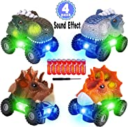 4 Pack Dinosaur Cars with LED Light & Sound Valentine's Gift Dino Car Toys Car Gifts Animal Vehicles Monster Truck Playset fo