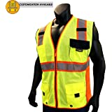 KwikSafety SUPREME | Class 2 Safety Vest | 360° High Visibility Reflective ANSI Compliant Work Wear | Hi Vis Breathable Mesh 7 Pockets | Men Women Regular to Oversized Fit | Yellow Red Trim S/M