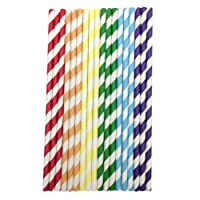AKORD 150 Pack Paper Drinking Straws Candy Series Everyday, Party, Wedding, Celebration, Rainbow