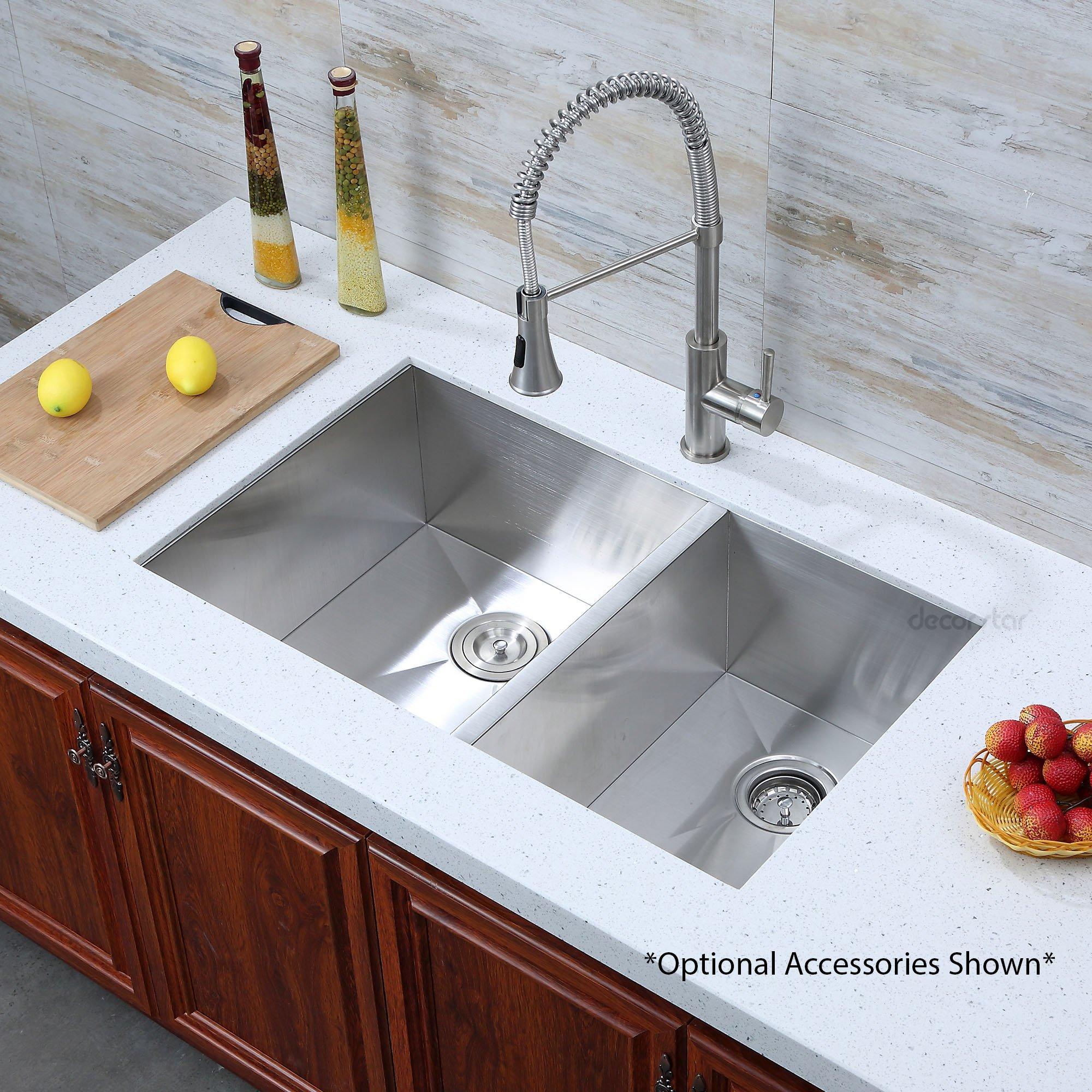 Decor Star H-003-Z 33 Inch x 20 Inch Undermount Offset Double Bowl 16 Gauge Stainless Steel Luxury Handmade Kitchen Sink Zero Radius