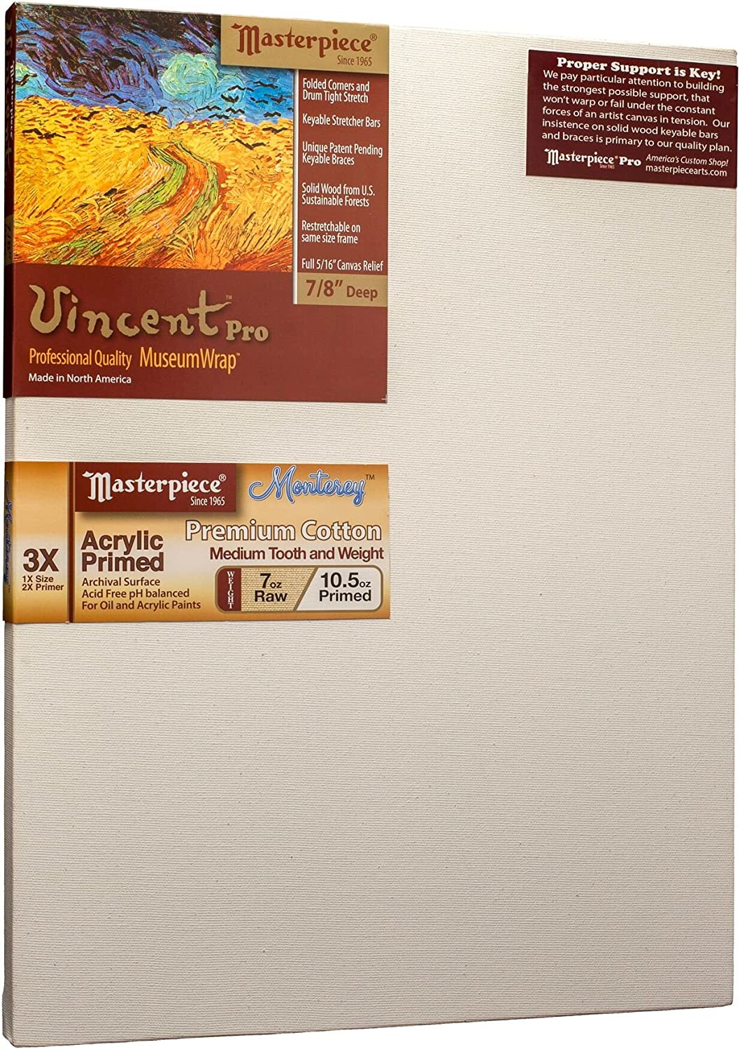 Monterey Most Popular Cotton 10.5oz 3X Masterpiece Artist Canvas VM-3248 Vincent Pro 7//8 Deep 32 x 48
