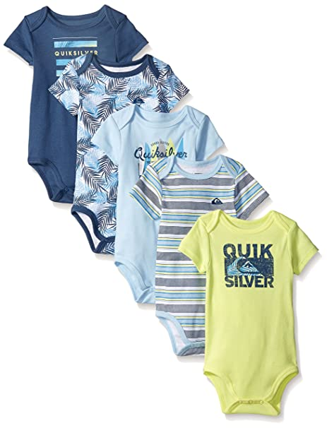 15fb43a79 Quiksilver Baby 5 Pack Bodysuit, Navy/Lime, 6/9 Months: Amazon.ca ...