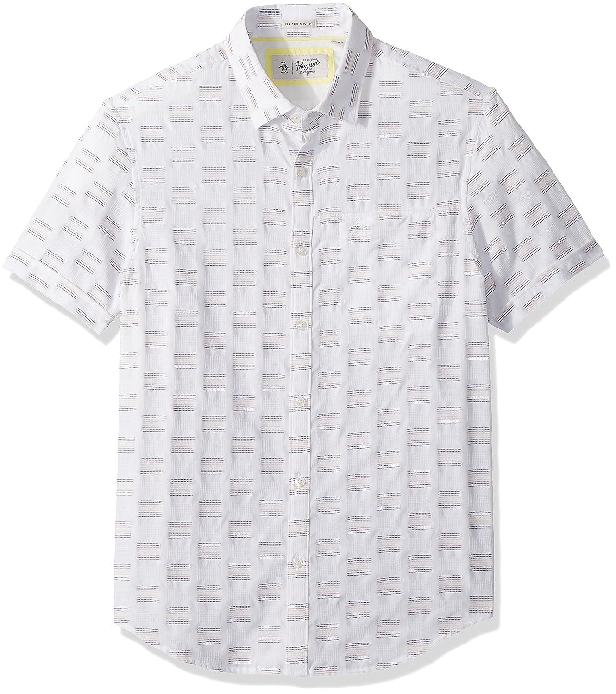 Original Penguin Mens Short Sleeve Core Poplin Button Down Shirt with Stretch