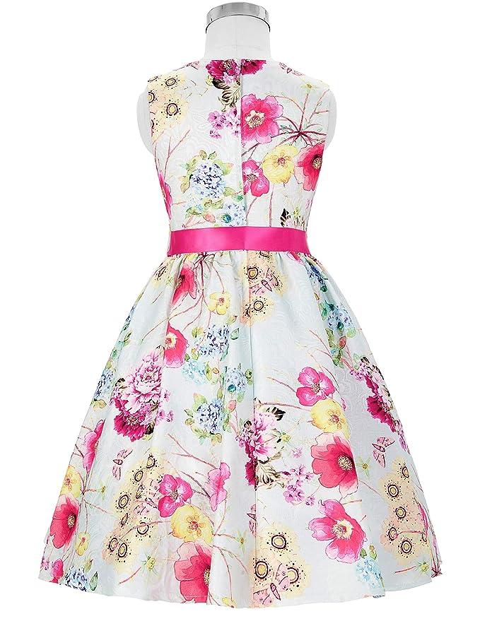 b2889740ee4c GRACE KARIN A-Línea Vestido Estampado de Princesa sin Mangas Cuello Redondo  de Dama de Honor Fiesta para Niñas 2-12 Años: Amazon.es: Ropa y accesorios