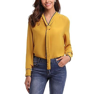 Abollria Womens Chiffon Long Sleeve Tops Casual Blouse Shirt at Women's Clothing store
