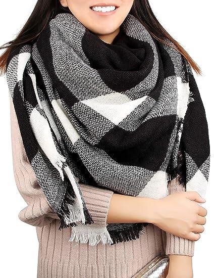 398289812aa86 Women's Blanket Scarf Winter Fall Warm Tartan Shawl Wrap Knit Soft Fleece  Oversized Check Scarves,