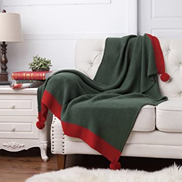 BEDSURE More than comfort Knitted Throw Blanket Green/Red ...