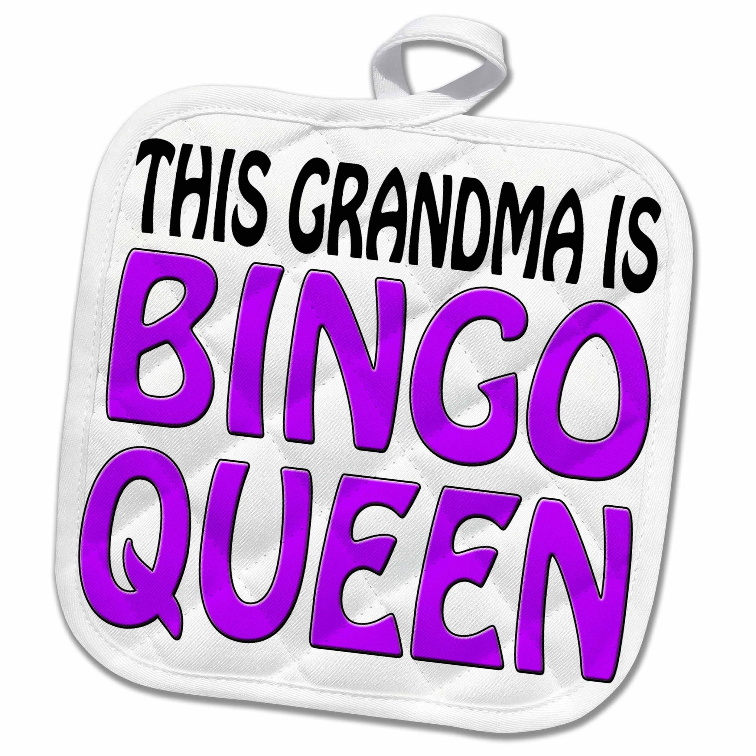 3dRose EvaDane - Funny Quotes - This grandma is bingo queen, Purple, 8x8 Potholder (phl_149773_1) by 3dRose