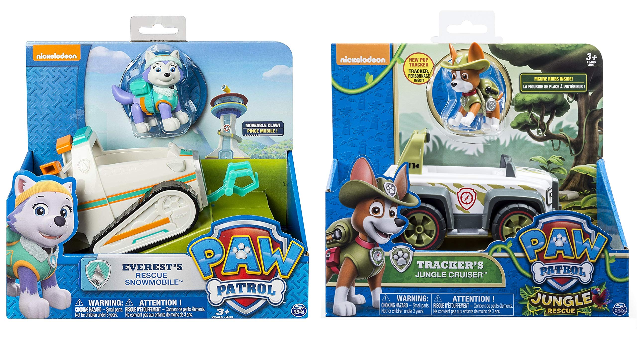 Paw Patrol Everest's Rescue Snowmobile & Paw Patrol, Jungle Rescue, Tracker's Jungle Cruiser, Vehicle & Figure Includes Blizy Pen by Paw Patrol