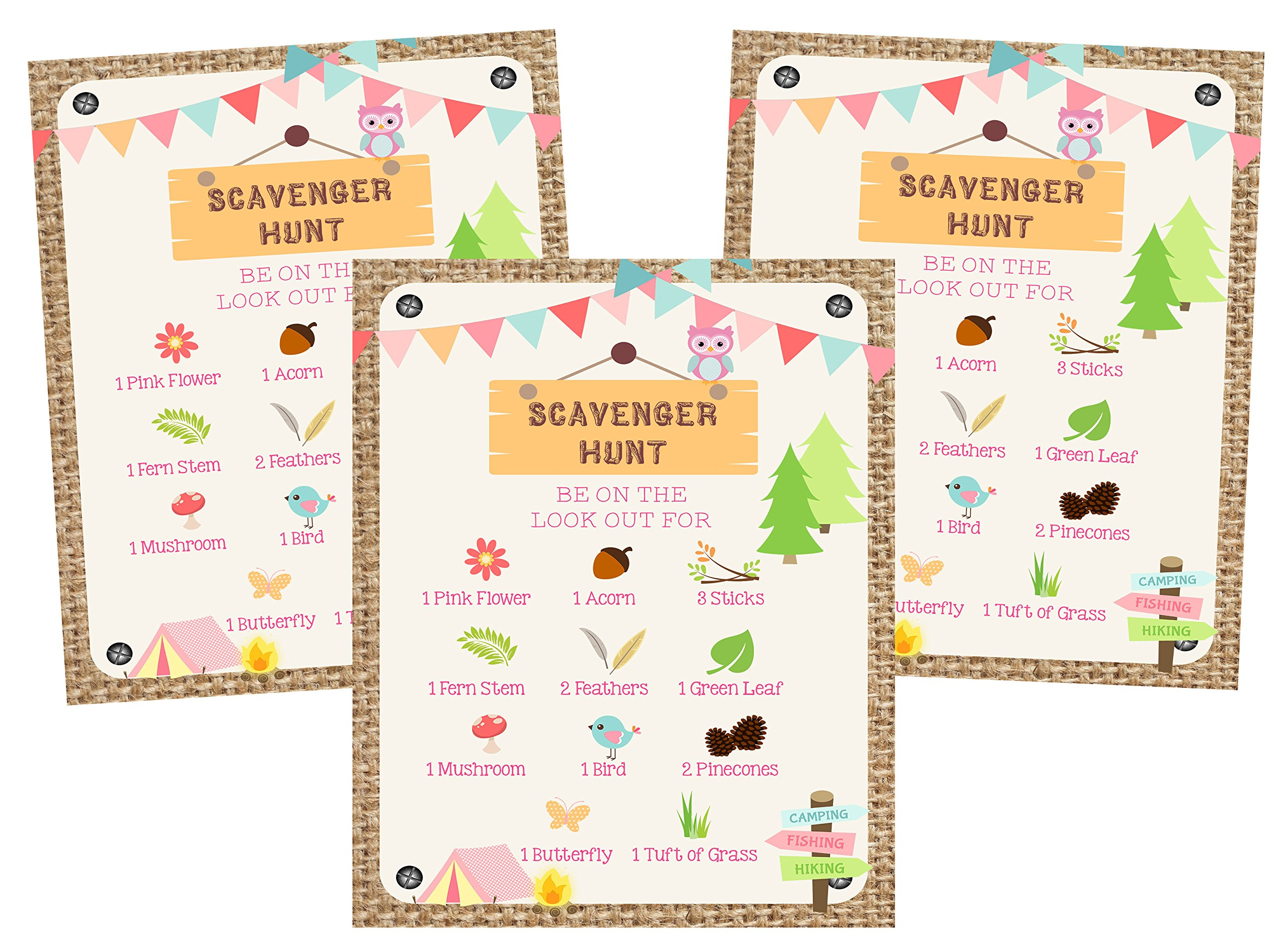 Glamping Girl Camping Pink Party Invitations Supply Decoration Decor (Scavenger Hunt Kit)