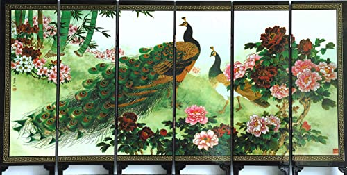 Yuyi Traditional Chinese Art for Home Decoration – Decorative Lacquerware, Home Decor, Lacquer, Oriental, Mini Divider, White, Black, Red, Golden, Green-Peacock