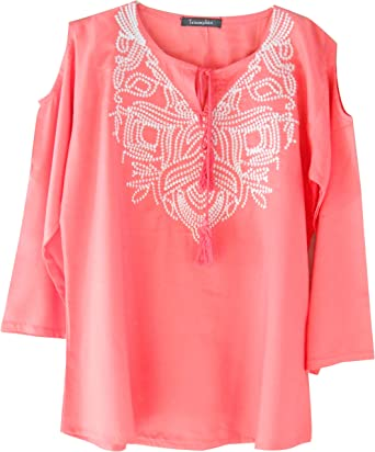 21803ac2095c4 Triumphin Pink Women Cold Shoulder Cut Shoulder Short Tunic Top For Jeans  Embroidered Cotton Top For Daily wear Stylish Casual and Western Wear Women  ...