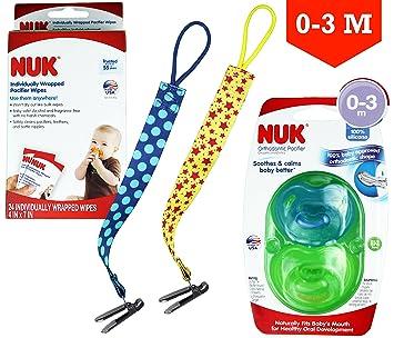Amazon.com : NUK Othodontic Pacifiers (0-3m) + NUK Paci Individual ...
