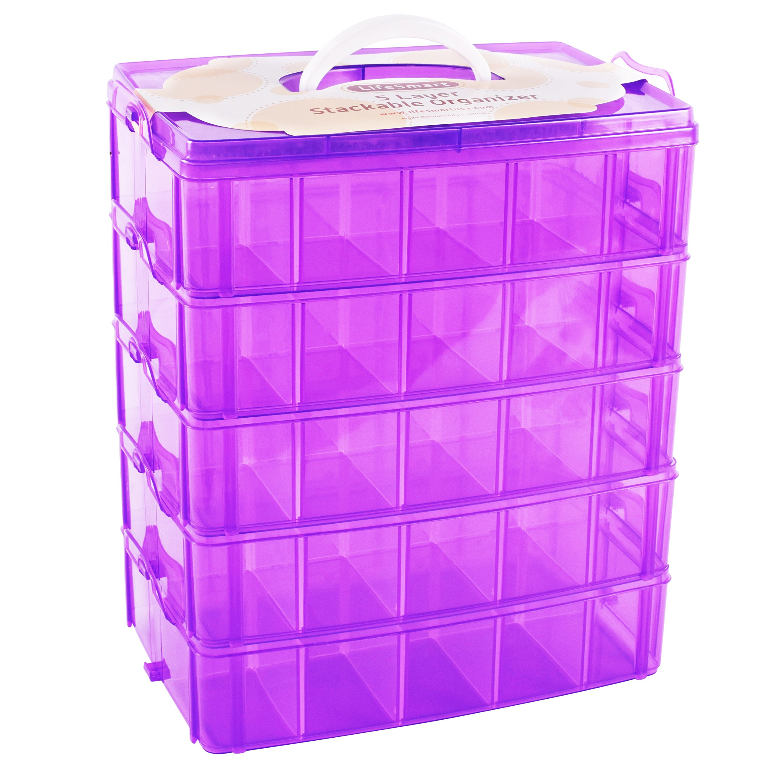 LifeSmart USA Stackable Storage Container Purple - 50 Adjustable Compartments - Store More Than All Other Cases - Lego Dimensions - Shopkins - Littlest Pet Shop - Arts and Crafts - and More!