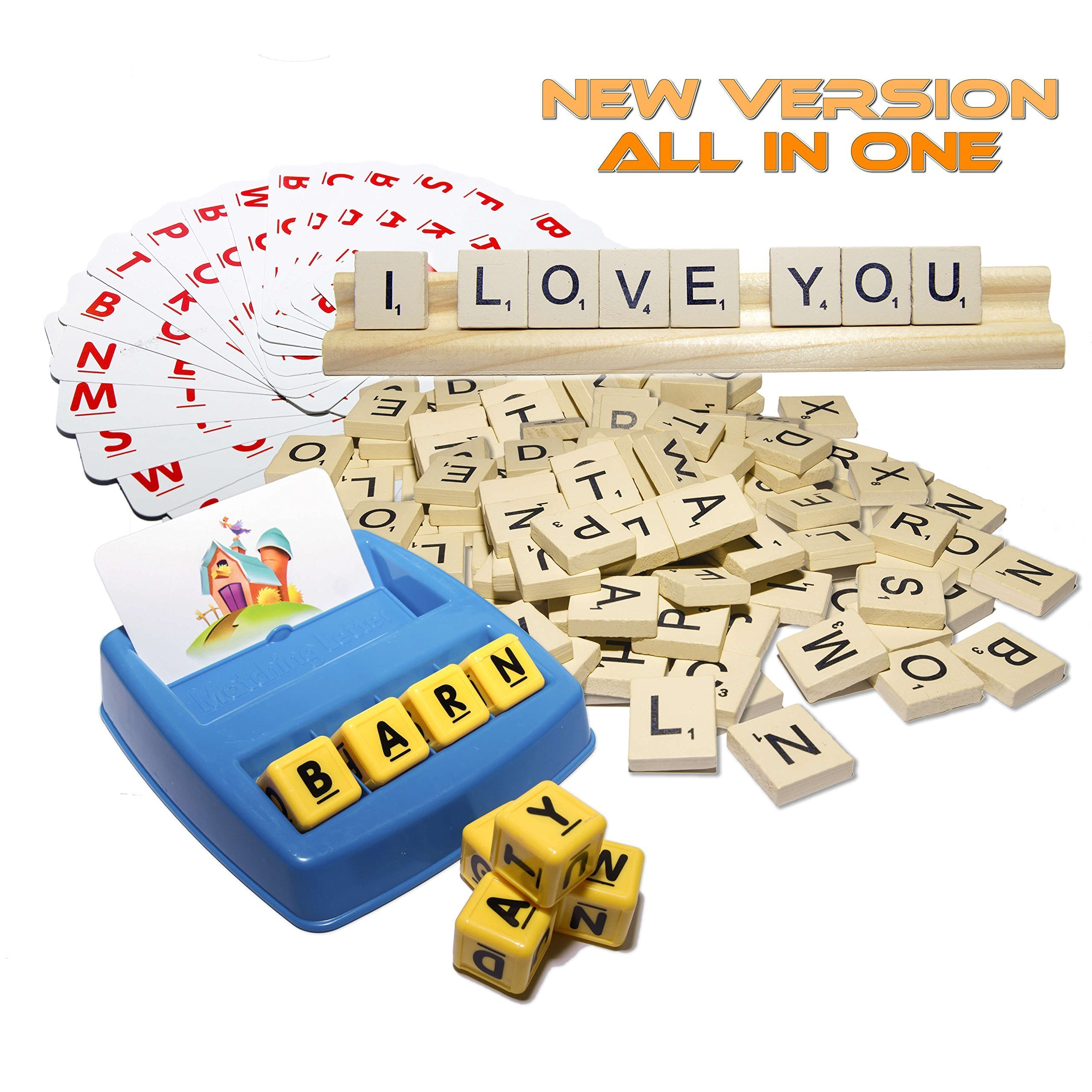 Matching Letter Game, 100 Scrabble Tiles - Spelling Games, Memory Puzzle, Word Letter Recognition for 3 Years & Up by VSBests