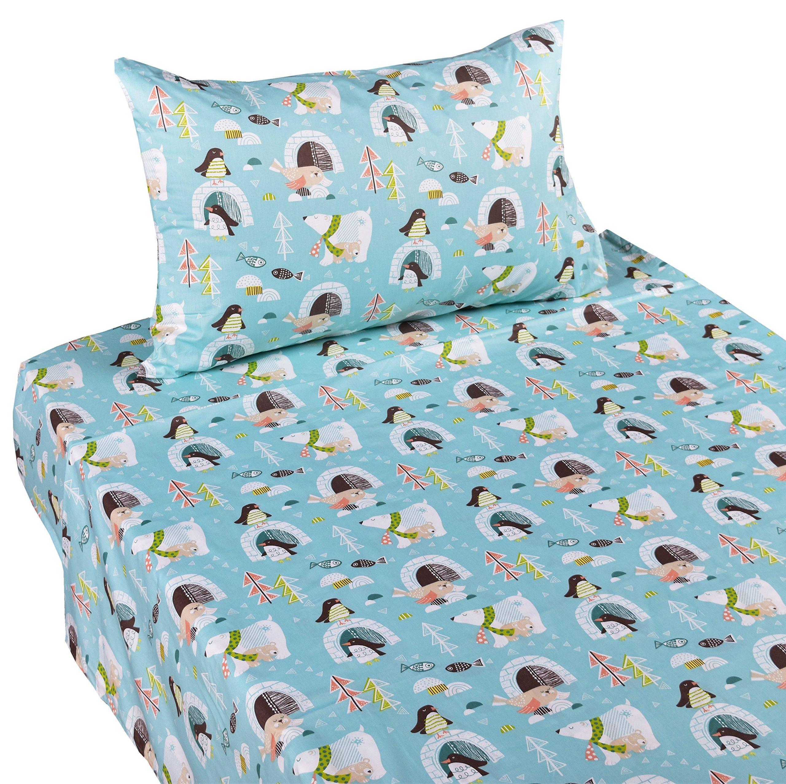 J-pinno Penguin Polar Bear Sea Lion Twin Sheet Set for Kids Boy Children,100% Cotton, Flat Sheet + Fitted Sheet + Pillowcase Bedding Set