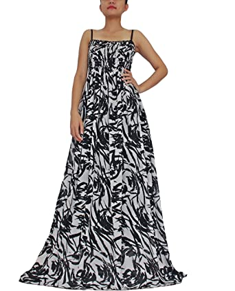 The WomenLand Women Plus Size Maxi Dress Summer Beach Party B&W Abstract  Prints
