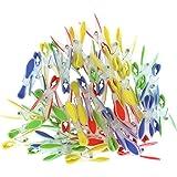 72 Kunststoff Wäscheklammern Set von Kurtzy - Extra Starke Wäscheklammern - Weicher Griff Perfekt zum Aufhängen von Kleidung auf Kleiderständer u. Leinen - Rot, Blau, Gelb, Grün Wäsche Kleiderstifte