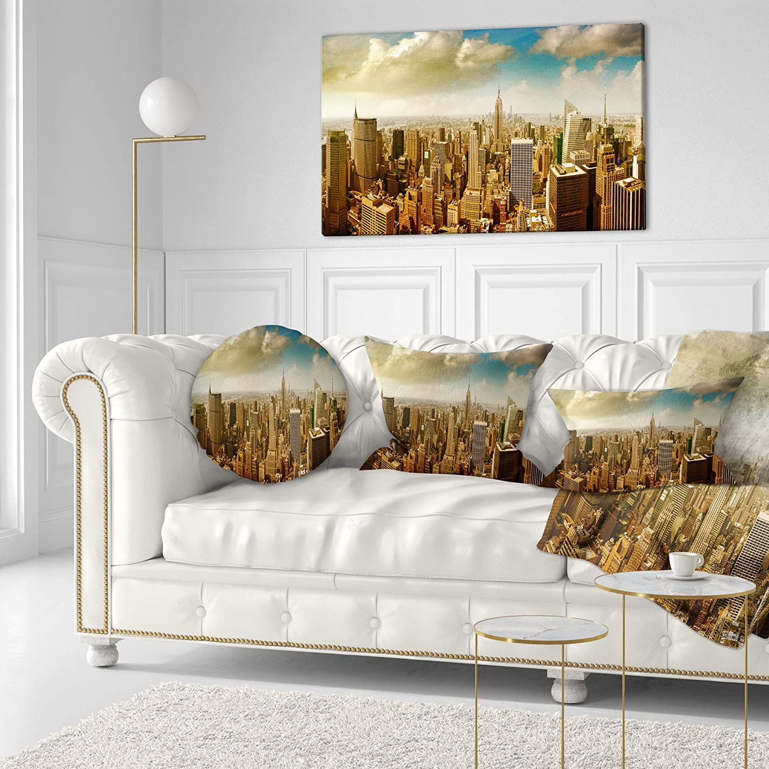 Insert Printed On Both Side Designart CU14333-20-20-C Midtown and Downtown Manhattan Modern Cityscape Round Cushion Cover for Living Room Sofa Throw Pillow 20