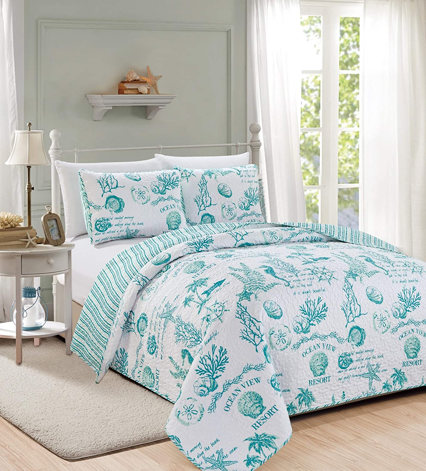 Great Bay Home 3 Piece Quilt Set with Shams. Soft All-Season Microfiber Bedspread Featuring Attractive Seascape Images. Machine Washable. The Catalina Collection Brand. (Full/Queen, Aqua)