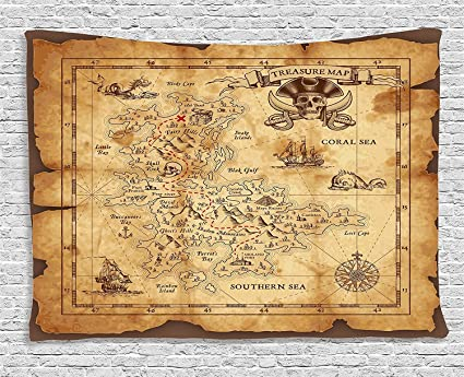 Amazon.com: Ambesonne Island Map Decor Tapestry, Super Detailed ...