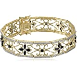 """Yellow Gold-Plated Sterling Silver Sapphire Flower Bracelet, 7.5"""""""