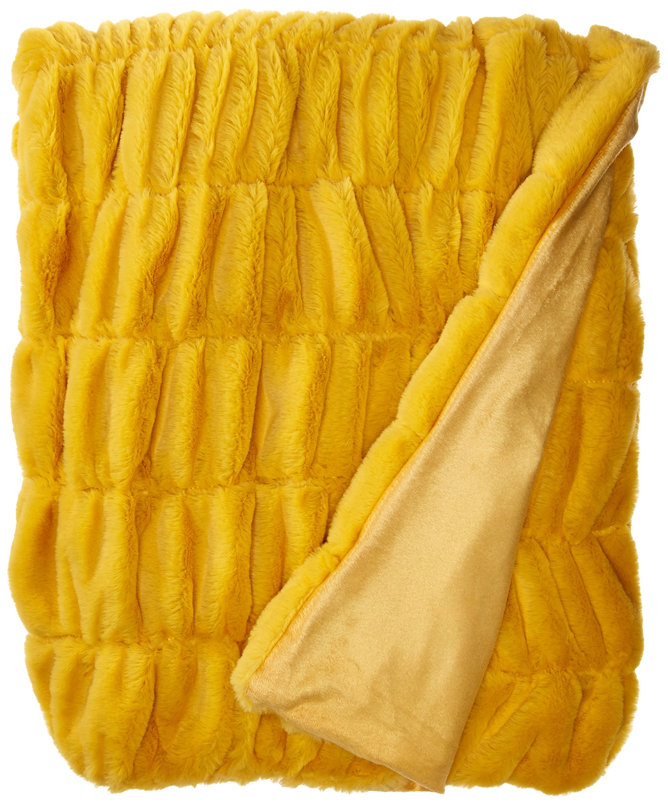"""Chic Home Miera Throw Blanket Cozy Super Soft Ultra Plush Decorative Shaggy Faux Fur with Micromink Backing 50"""" x 60"""", Mustard"""