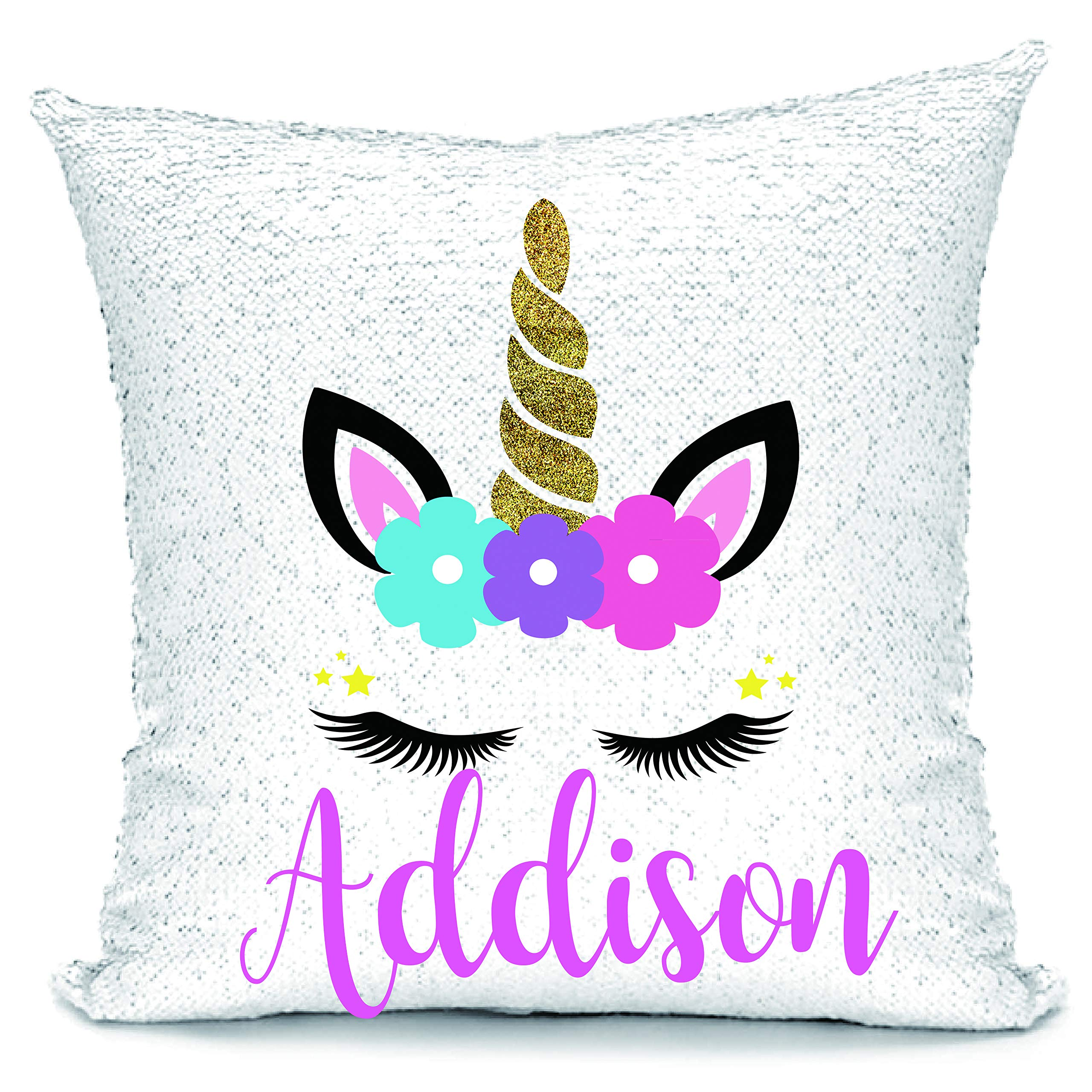 Linkes Personalized Mermaid Reversible Sequin Pillow, Custom Unicorn Sequin Pillow for Girls(Rainbow/Silver) by Linkes