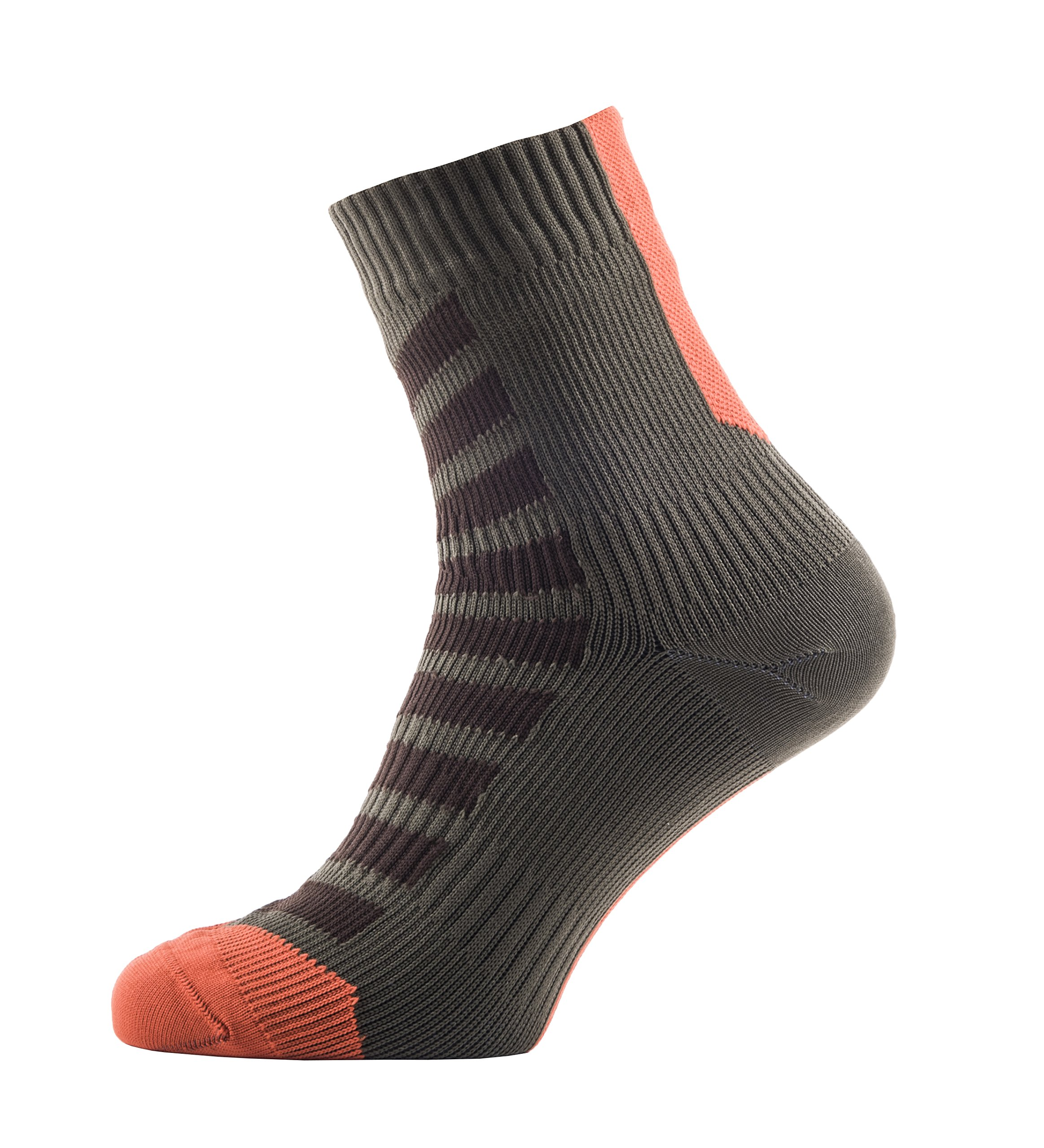 SEALSKINZ MTB Ankle Socks with Hydrostop, Small - DK Olive/Mud/Orange. With a Helicase brand sock ring by SEALSKINZ