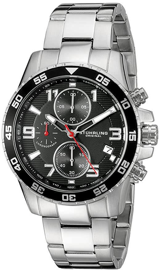 Amazon.com: Stuhrling Original Mens 985.02 Concorso Quartz Chronograph Date Stainless Steel Watch: Watches