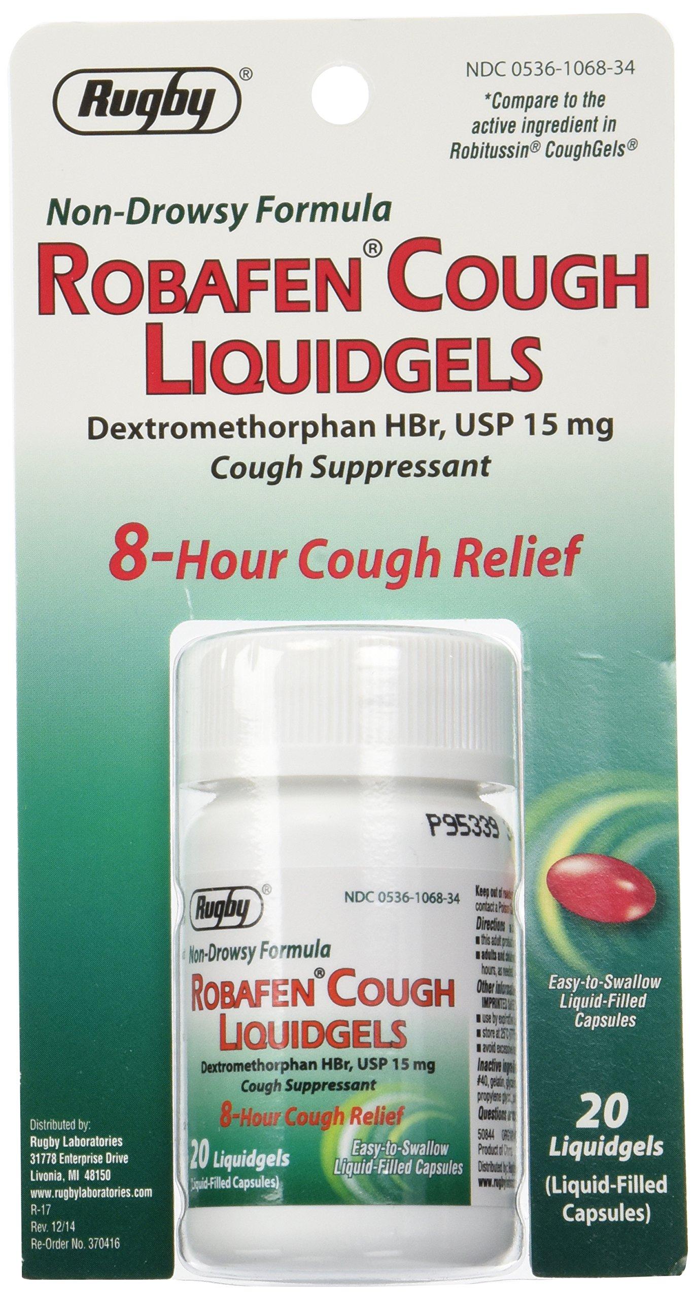 Robafen Cough Liquidgels Dextromethorphan HBr, USP 15mg, 20 Liquidgels (4 Packs) by Robitussin Coughgels