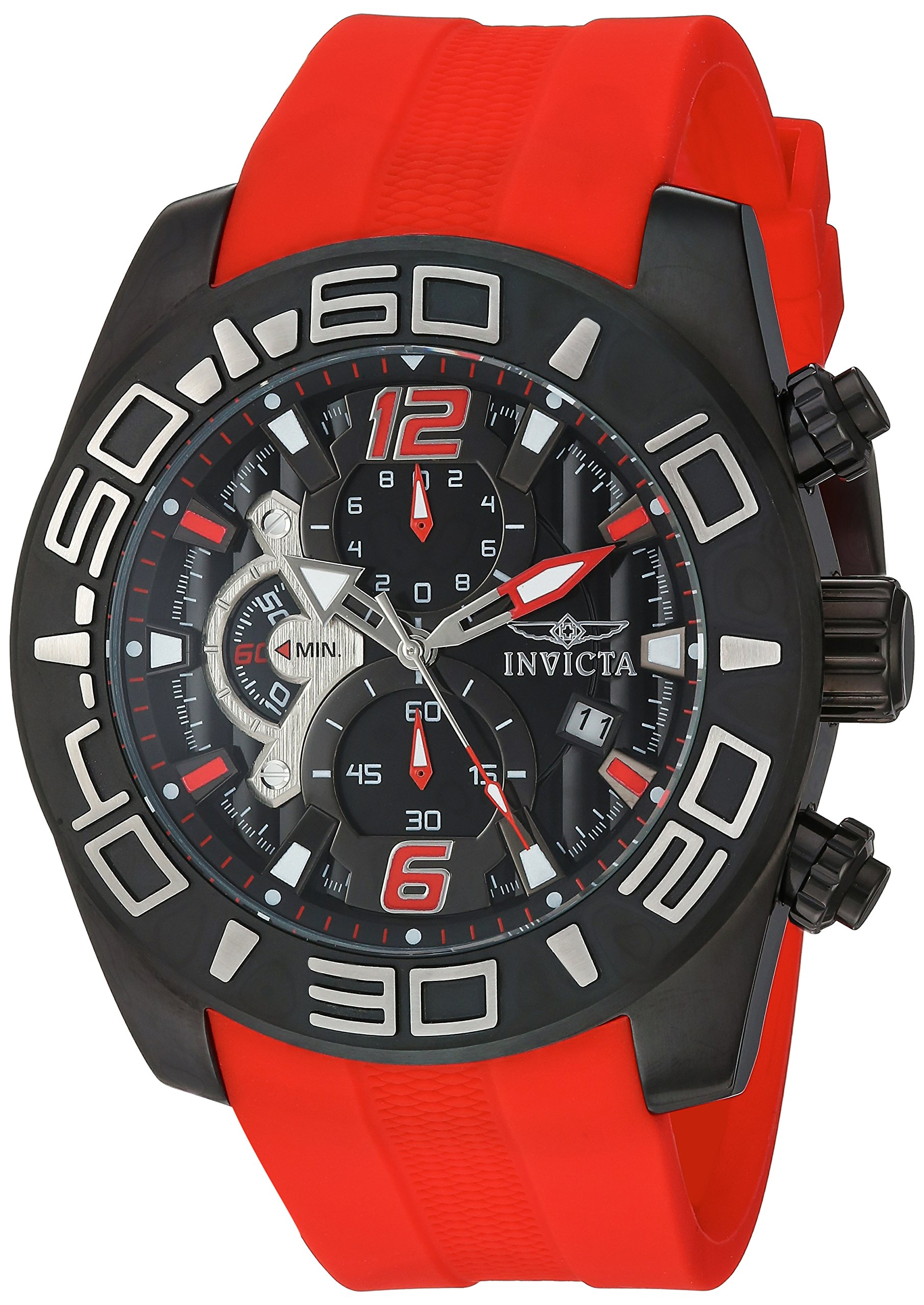 Invicta Men's Pro Diver Stainless Steel Quartz Watch with Silicone Strap, red, 25 (Model: 22810