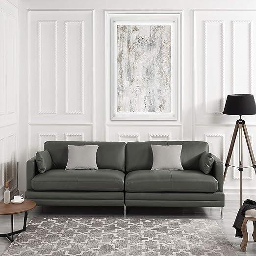 Amazon.com: Sofá tapizado de piel gris | Sofá moderno de ...