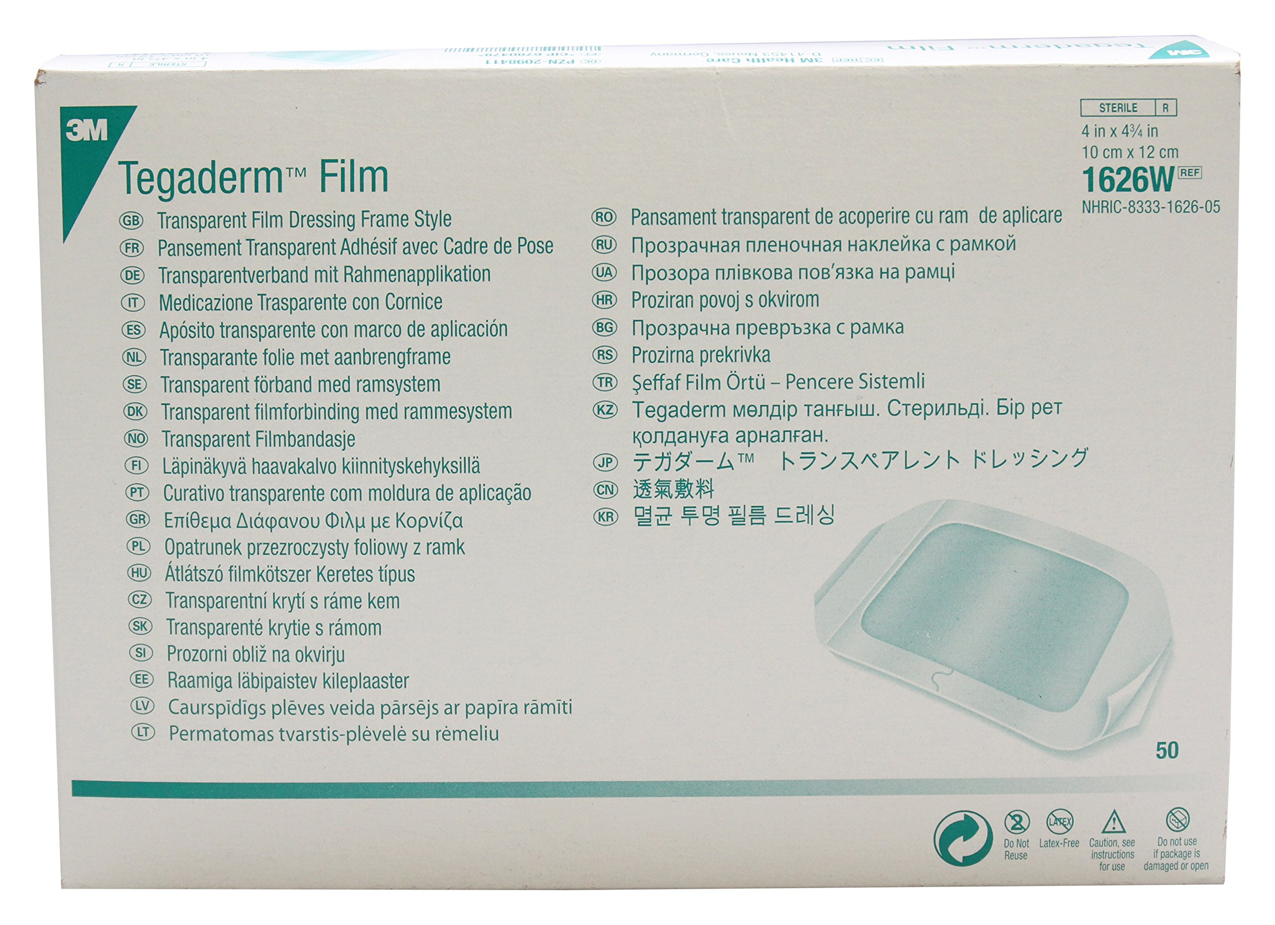 3M Health Care 1626W Tegaderm Film Dressing, Frame Style, Rectangle, 4.75'' Width, 4'' Length, 4'' x 4 3/4'', Transparent (Pack of 50)