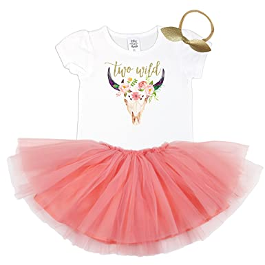 3a9dc3ca2 Girls 2nd Birthday Outfit Gold Two Wild Shirt Bull Skull Peach Tutu Gold  Bow 3 Piece