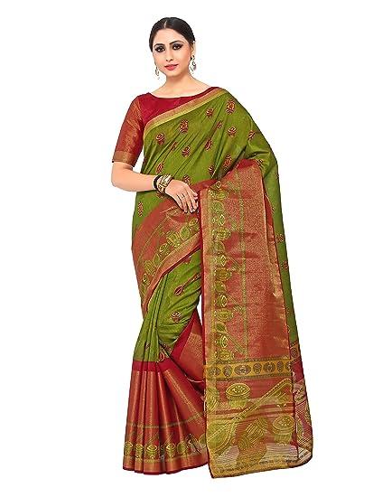 760b4e80a7cff Image Unavailable. Image not available for. Colour  Kupinda Kalamkari Print Art  Raw Silk saree Color Green ...