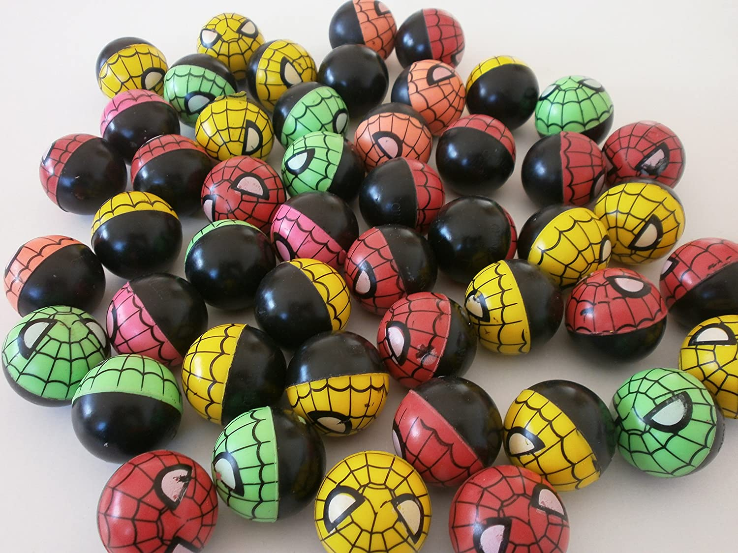 100 x Flummi im Spinnen-Design 30mm Spider Ball Gummiball